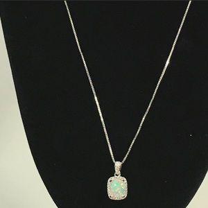 Fire Opal Pendant Necklace